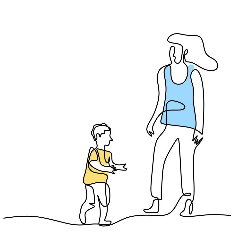 een enkele lijntekening van jonge gelukkige moeder die haar zoon vasthoudt. een moeder speelt samen met haar kind thuis geïsoleerd op een witte achtergrond. familie ouderschap concept. vector illustratie