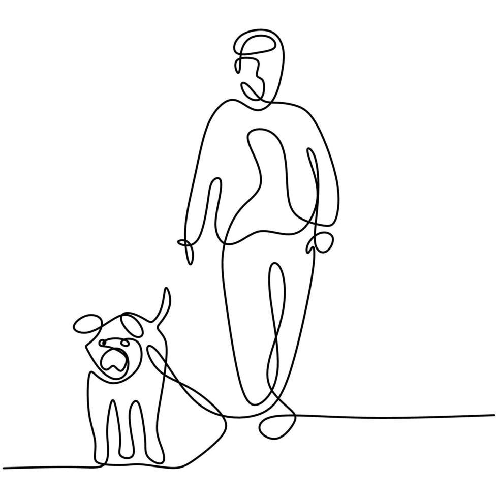 een lijntekening van jonge gelukkige vrouw wandelen met zijn hond op outfield park. vriendschap over mens en gezelschapsdierconcept dat op witte achtergrond wordt geïsoleerd. vector huisdier zorg illustratie