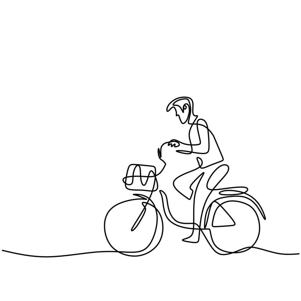 een enkele lijntekening gelukkige jonge man fietsten in de straat. een vrolijk mannetje dat 's ochtends lekker fietst om wat frisse lucht te krijgen. gezonde levensstijl concept. vector illustratie