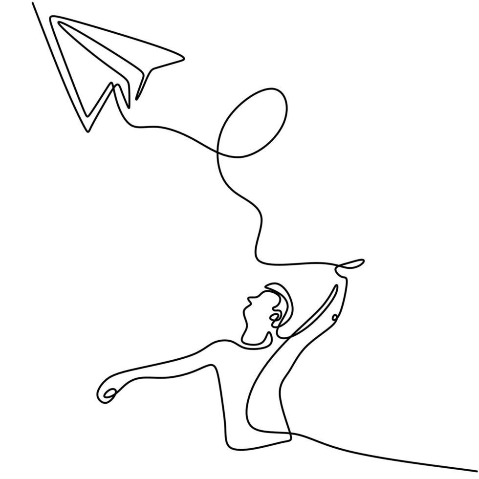 een doorlopende lijntekening van een jonge man die een speelgoedvliegtuig lanceert in het veld. gelukkige tiener jongen spelen vliegtuig in de lucht geïsoleerd op een witte achtergrond. thema zomeractiviteit. vector illustratie