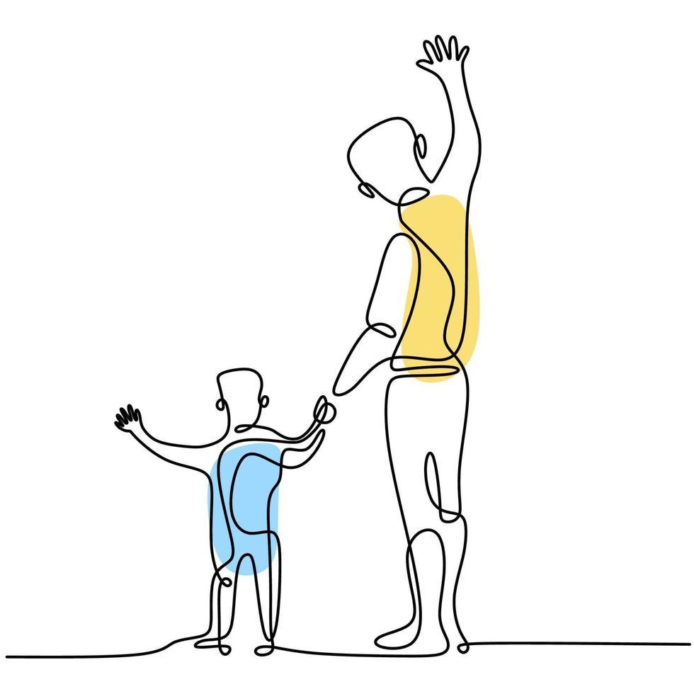 een lijntekening van vader en zoon die samen op straat staan. jonge papa met zijn kind en zwaaien handen geïsoleerd op een witte achtergrond. gelukkig gezin tijd concept. vector illustratie