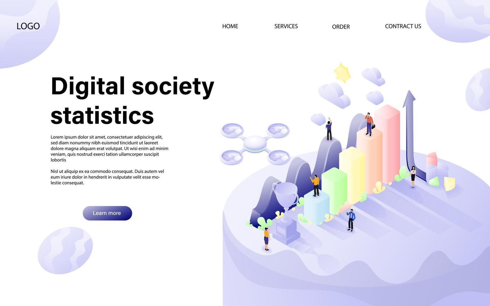digitaal statistiekenconcept met karakter voor website-bestemmingspagina en mobiele sjabloon. vector