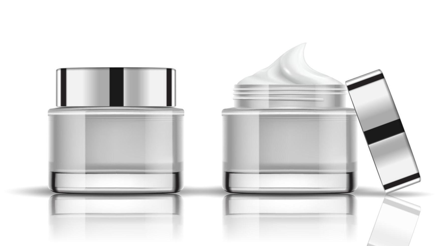 set van witte cosmetische flessen verpakking mockup, klaar voor uw ontwerp, vectorillustratie. vector