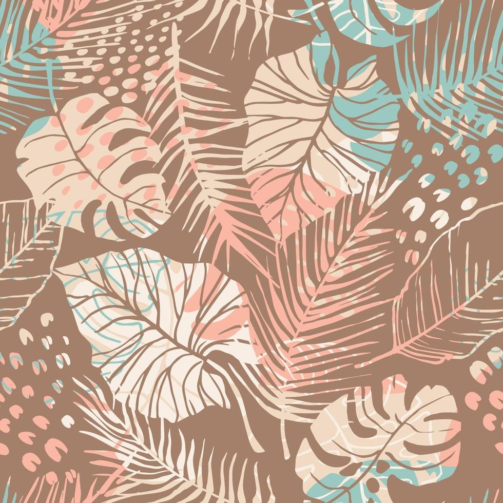 tropisch naadloos patroon met abstracte bladeren. modern ontwerp f vector