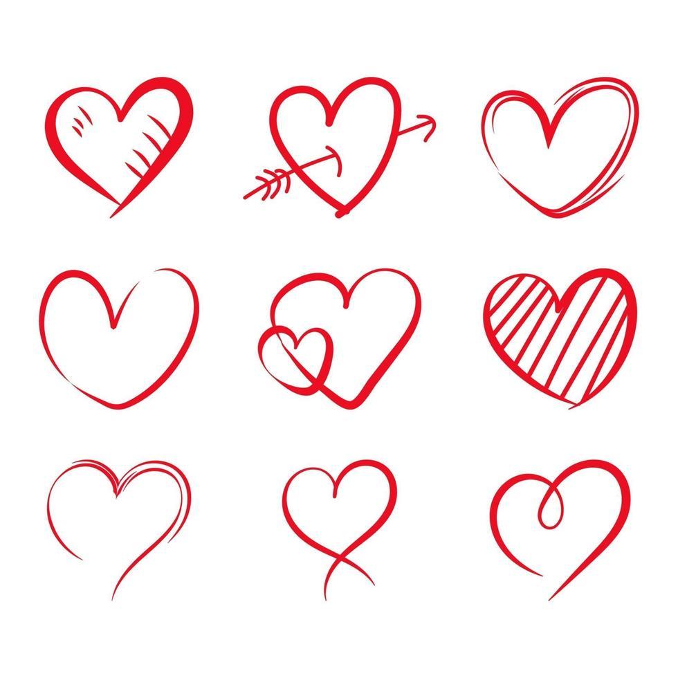 hand getrokken hart set vector