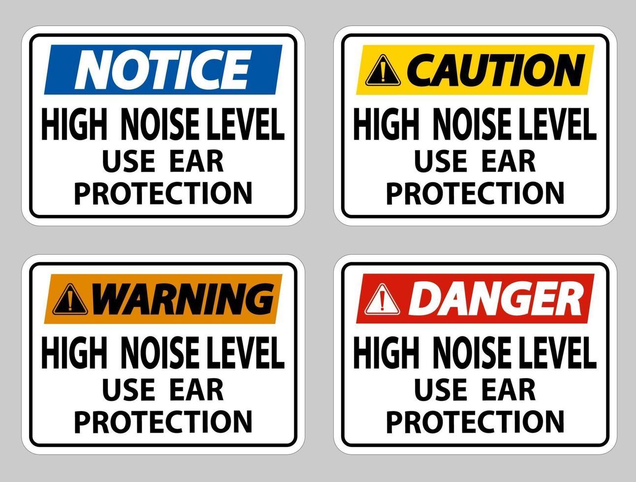 Gebruik gehoorbescherming met hoog geluidsniveau op een witte achtergrond vector
