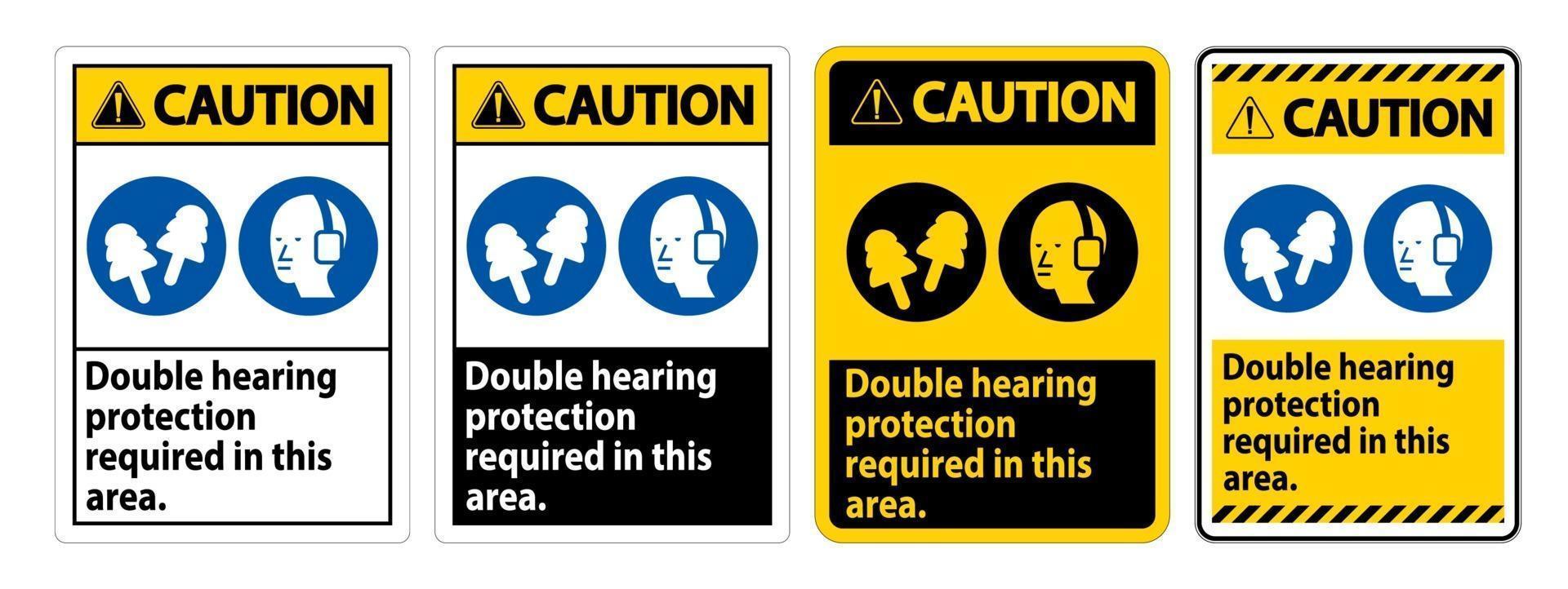 waarschuwingsteken dubbele gehoorbescherming vereist in dit gebied met oorkappen en oordopjes vector