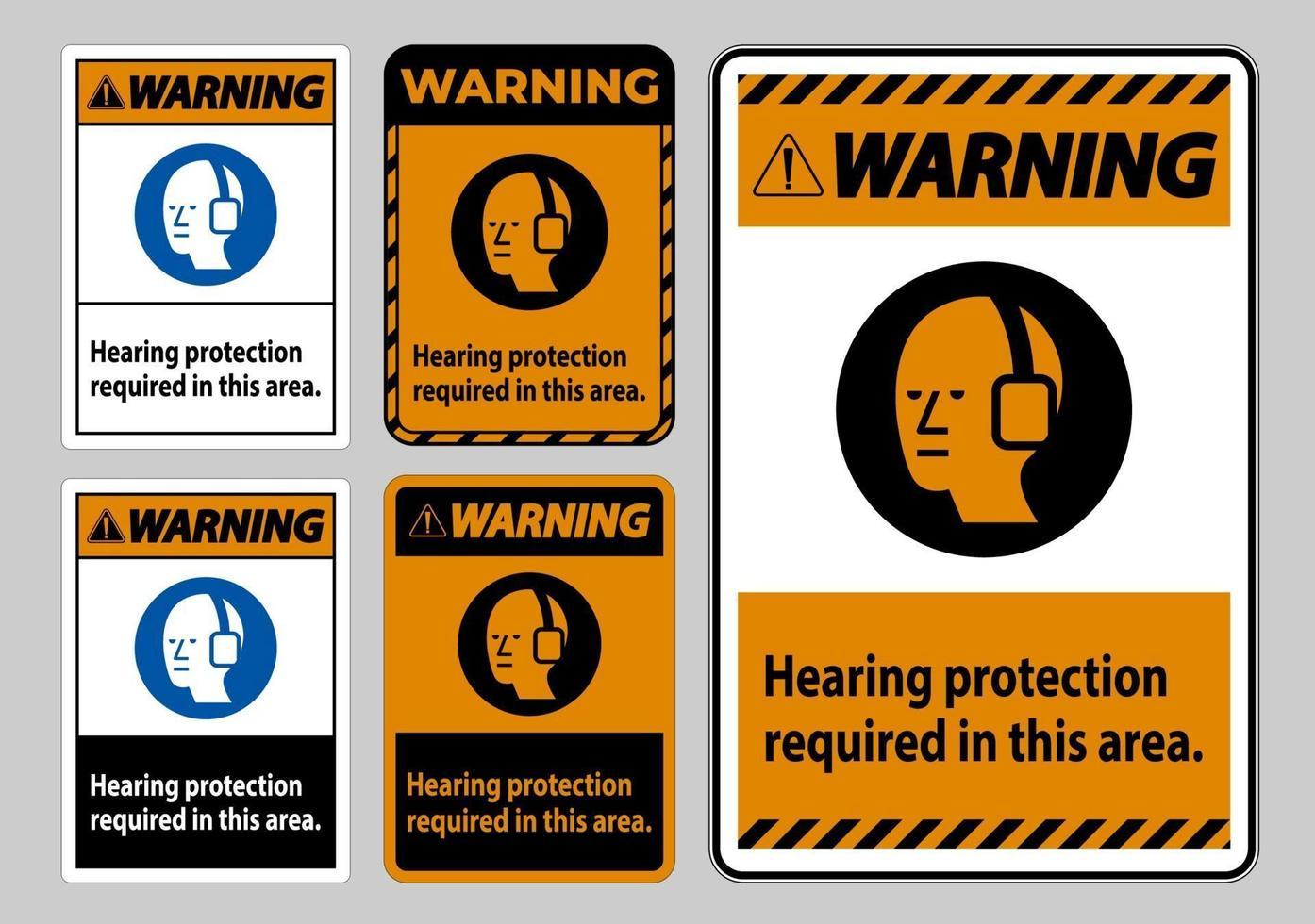 waarschuwing pbm-bord gehoorbescherming vereist in dit gebied met symbool vector