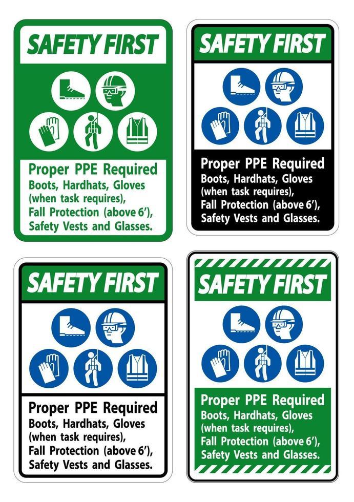 veiligheid eerste teken goede pbm vereiste laarzen, hardhats, handschoenen wanneer taak valbescherming vereist met pbm symbolen vector