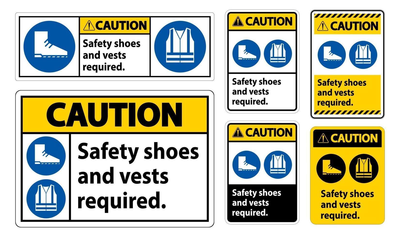 waarschuwingsteken veiligheidsschoenen en vest vereist met pbm-symbolen op witte achtergrond vector