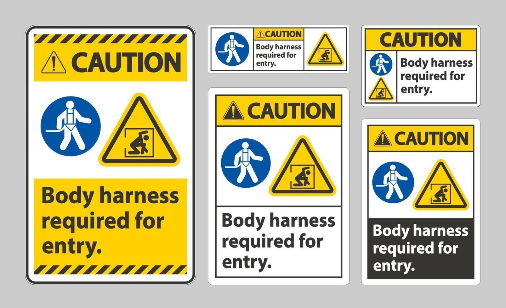 waarschuwingsteken lichaamsharnas vereist voor toegang vector