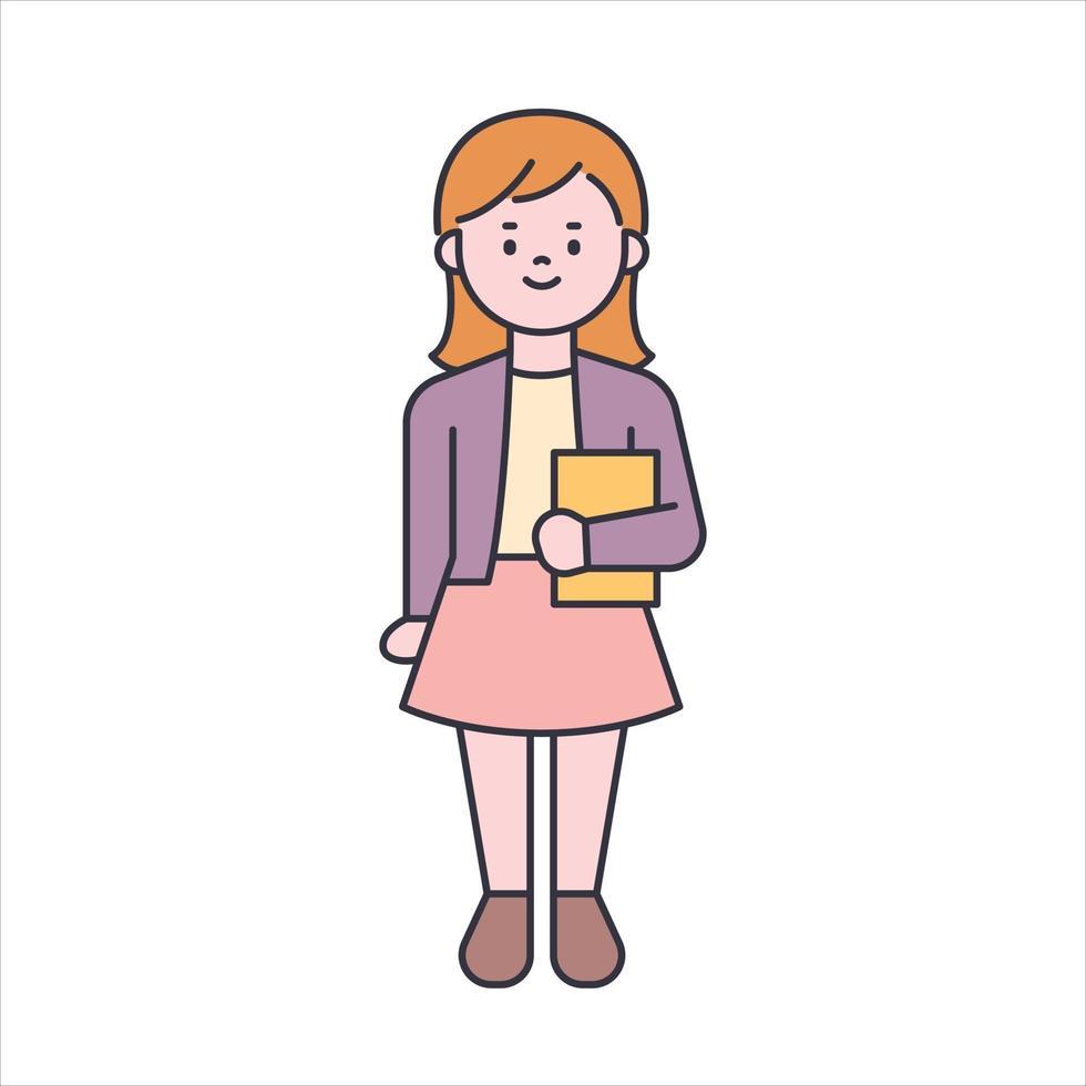 schattig meisje permanent met een boek in haar armen vector