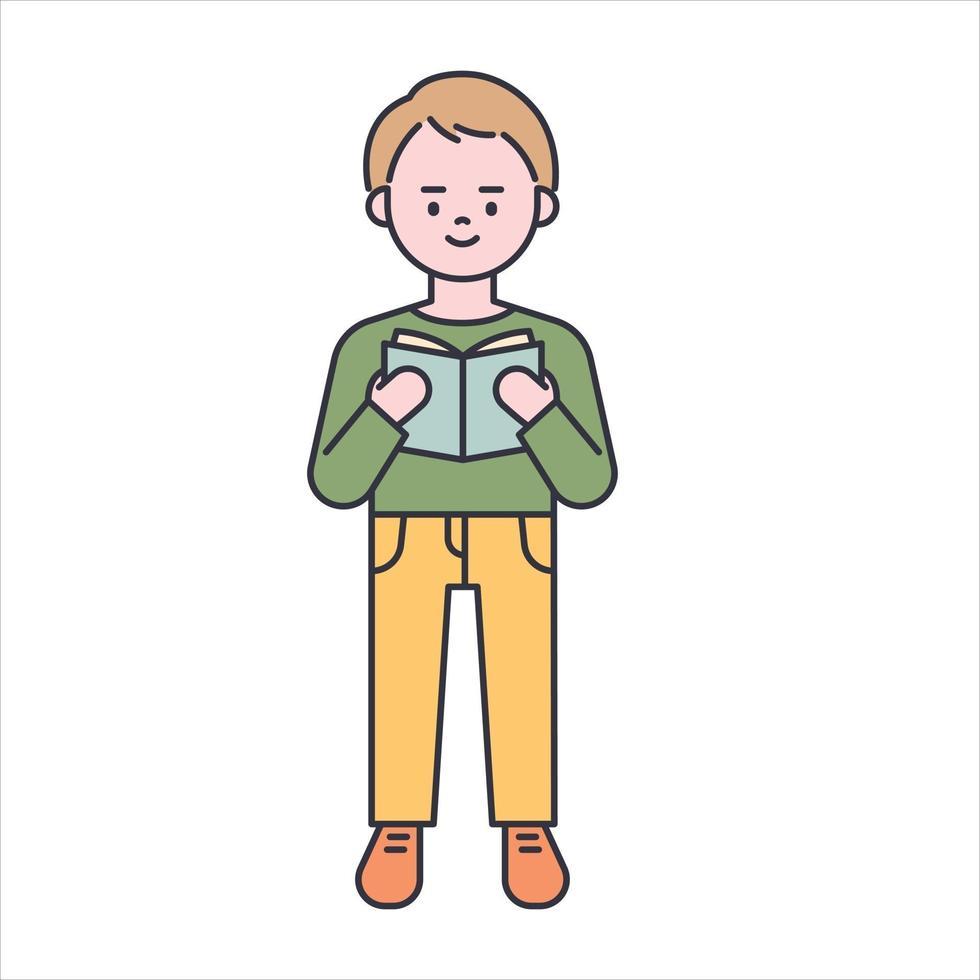 een jongen die een boek leest. platte ontwerpstijl minimale vectorillustratie. vector