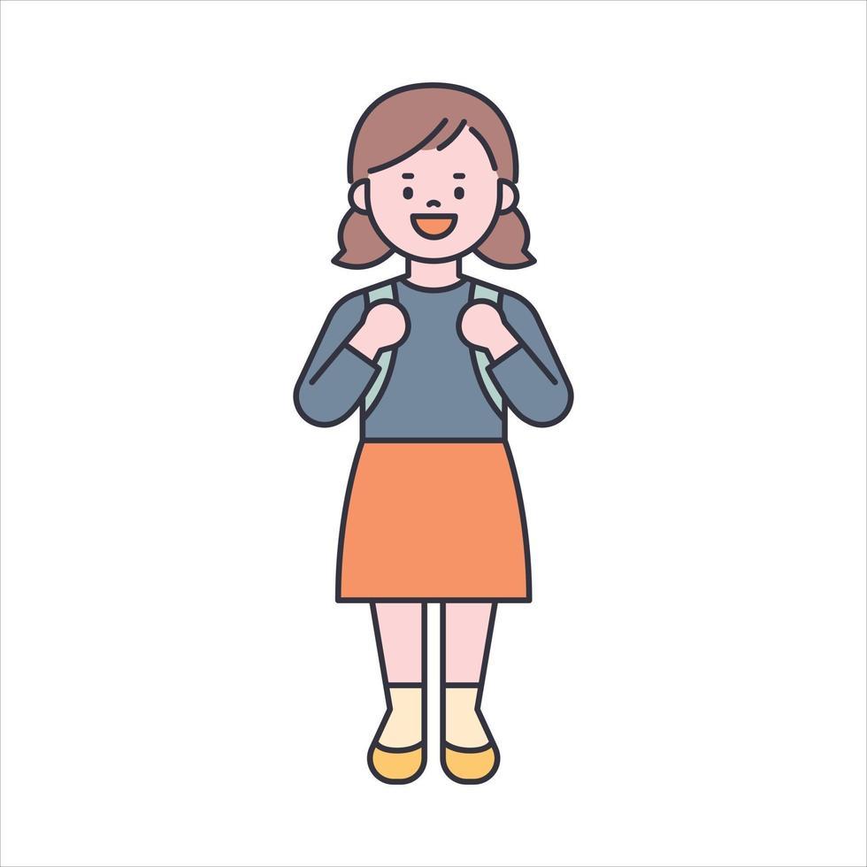 een schattig klein meisje staat en draagt een schooltas. platte ontwerpstijl minimale vectorillustratie. vector