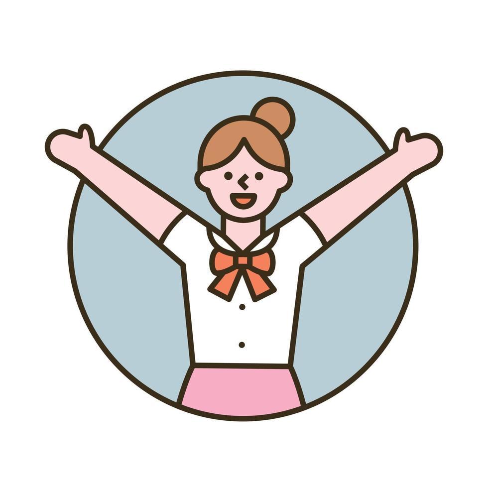 een meisje glimlacht met opgeheven armen. platte ontwerpstijl minimale vectorillustratie. vector