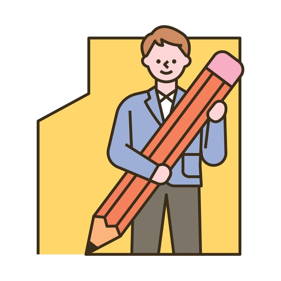 een mannelijke student tekent een kader met een groot potlood. platte ontwerpstijl minimale vectorillustratie. vector