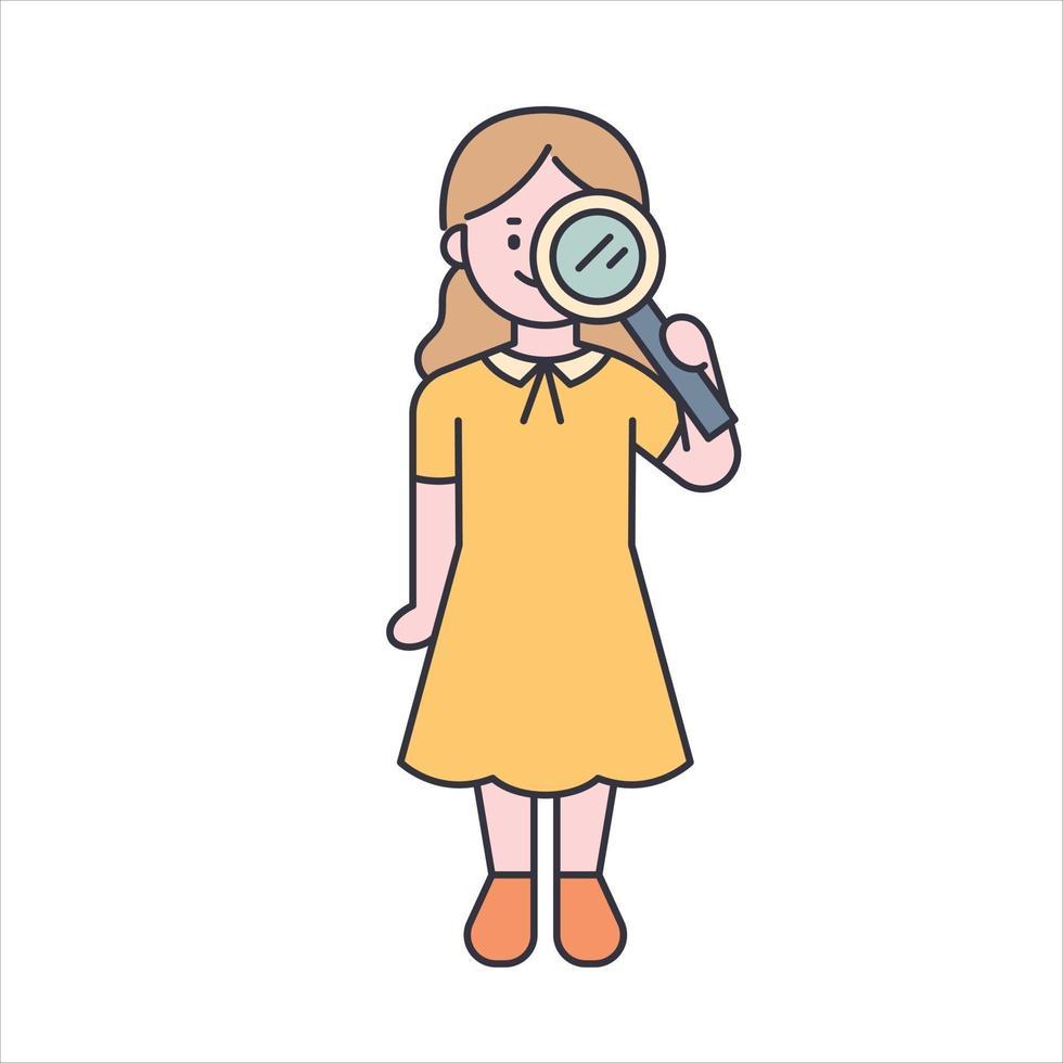 een mooi meisje in een gele jurk met een vergrootglas. platte ontwerpstijl minimale vectorillustratie. vector