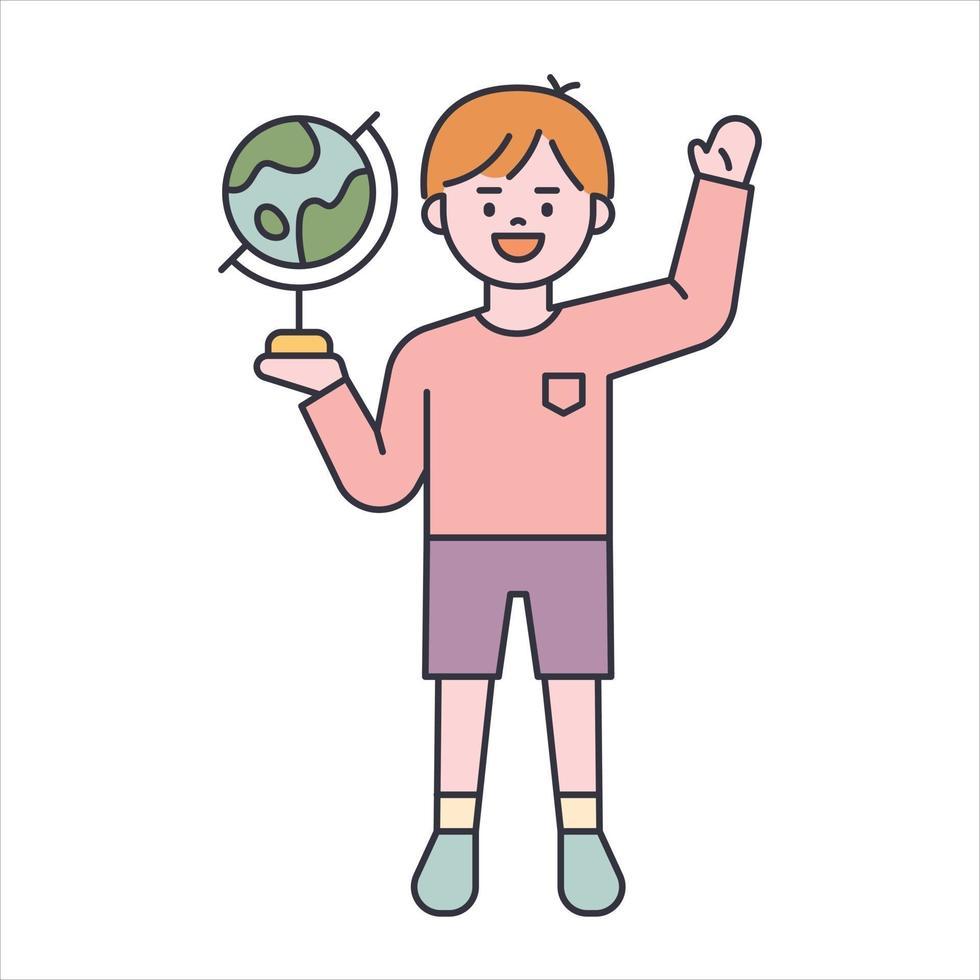 een schattige jongen begroet met een wereldbol in zijn hand. platte ontwerpstijl minimale vectorillustratie. vector