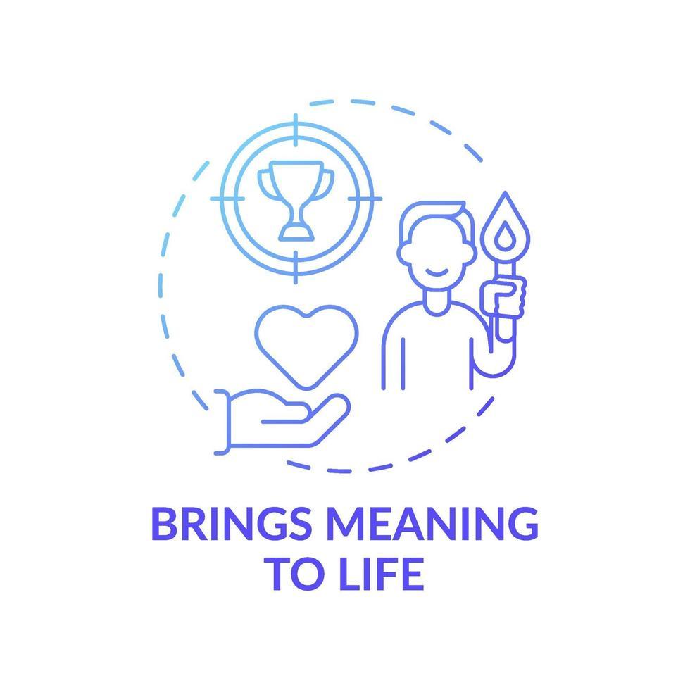 brengt betekenis aan het leven blauwe kleurovergang concept pictogram vector