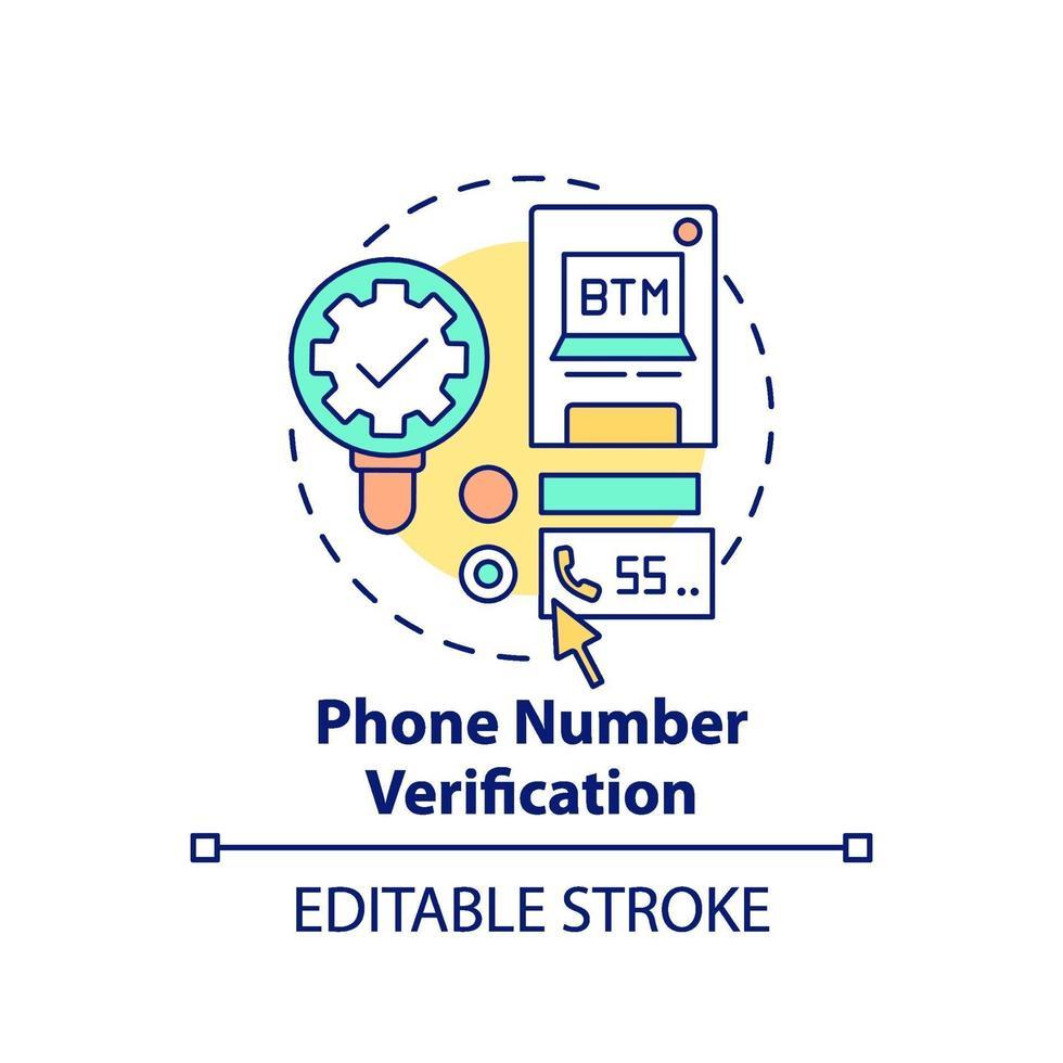 telefoonnummer verificatie concept pictogram vector
