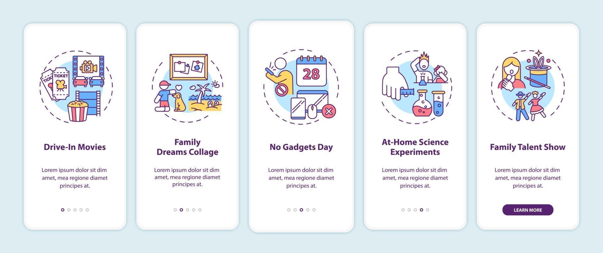 familie leuke ideeën onboarding mobiele app-paginascherm met concepten vector
