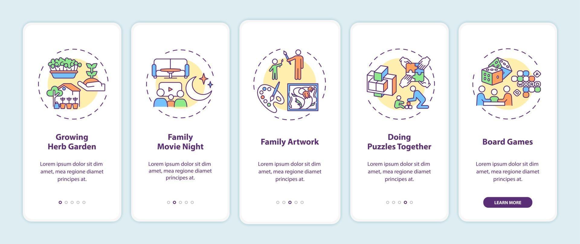 indoor gezinsactiviteiten onboarding mobiel app-paginascherm met concepten vector