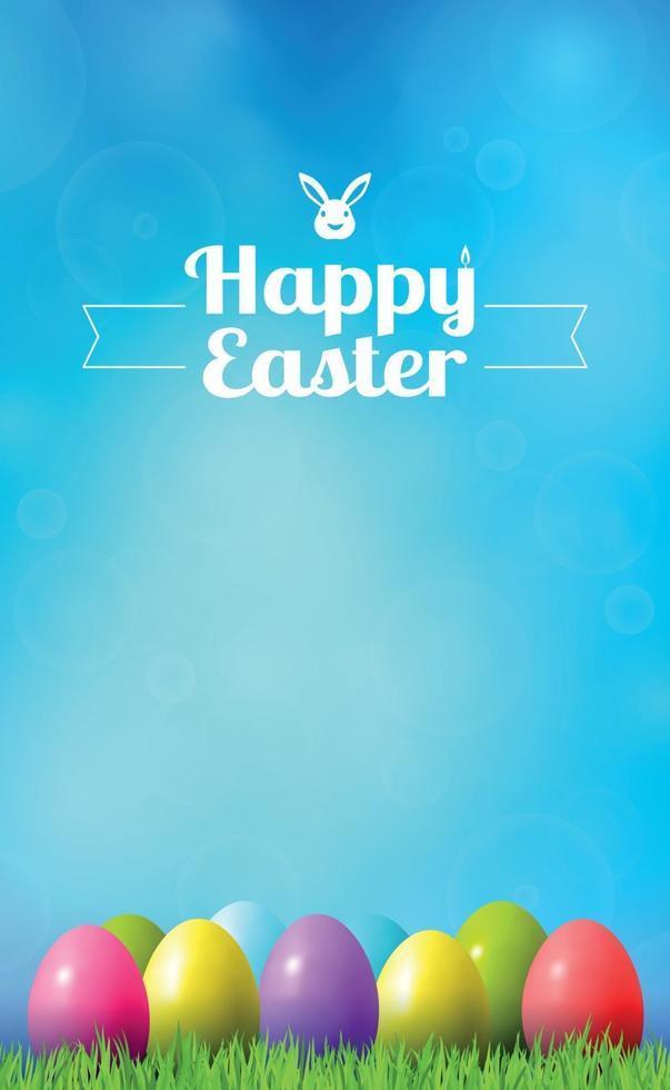 abstracte Pasen bokeh achtergrond met kleurrijke eieren liggend op het gras tegen de achtergrond van de hemel, gefeliciteerd met Pasen vector