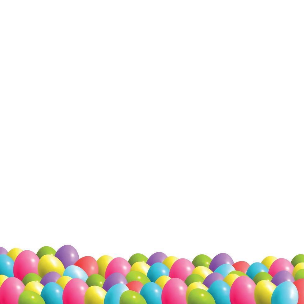 abstracte illustratie van veel veelkleurige eieren met verschillende tinten op groen gras vector