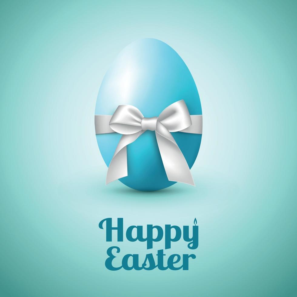 abstract beeld van een groot ei met een witte strik en gefeliciteerd met Pasen - vector afbeelding