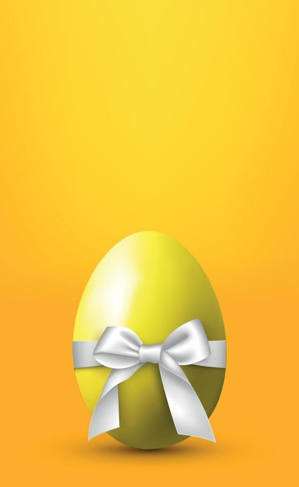 groot ei met een witte strik op een gele achtergrond - vector afbeelding
