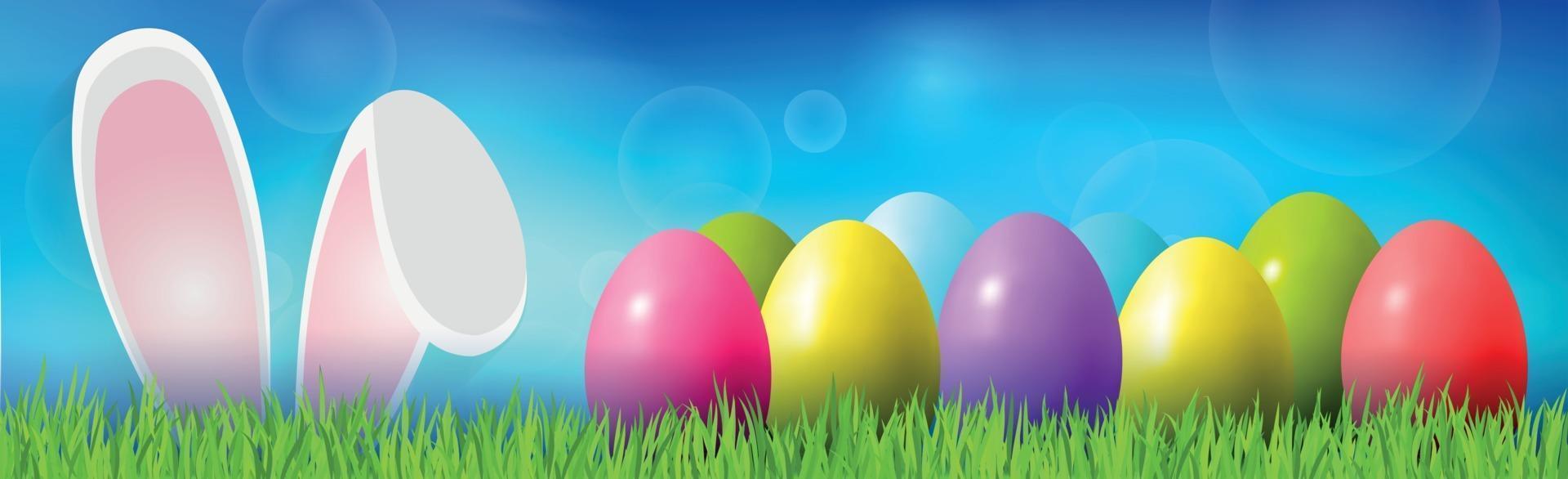 Pasen achtergrond met kleurrijke eieren liggend op het gras, bunny oren - vector afbeelding