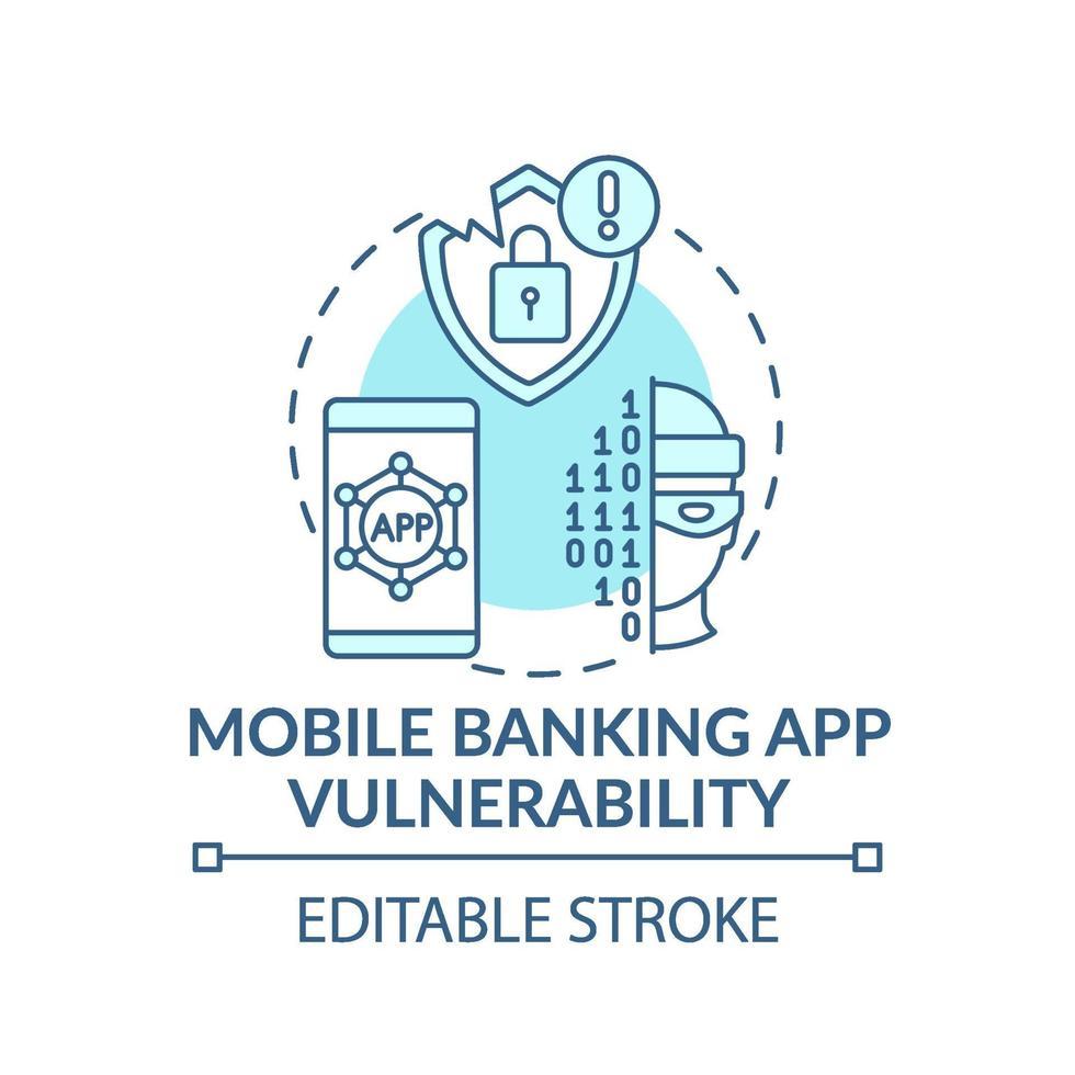 mobiel bankieren app kwetsbaarheid concept pictogram vector