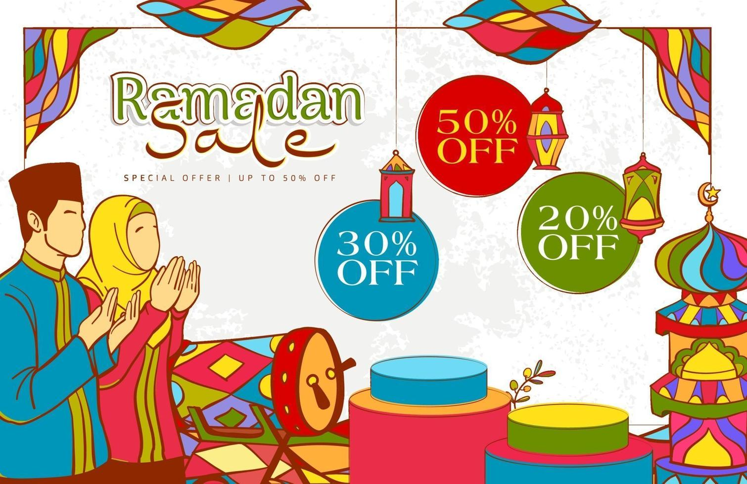hand getekend ramadan kareem illustratie met kleurrijke islamitisch vector
