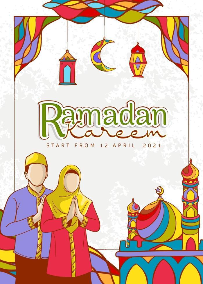 hand getekend ramadan kareem illustratie vector
