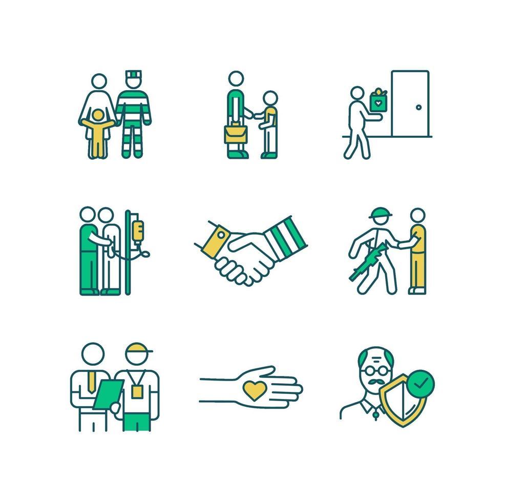 sociale diensten rgb kleur iconen set vector