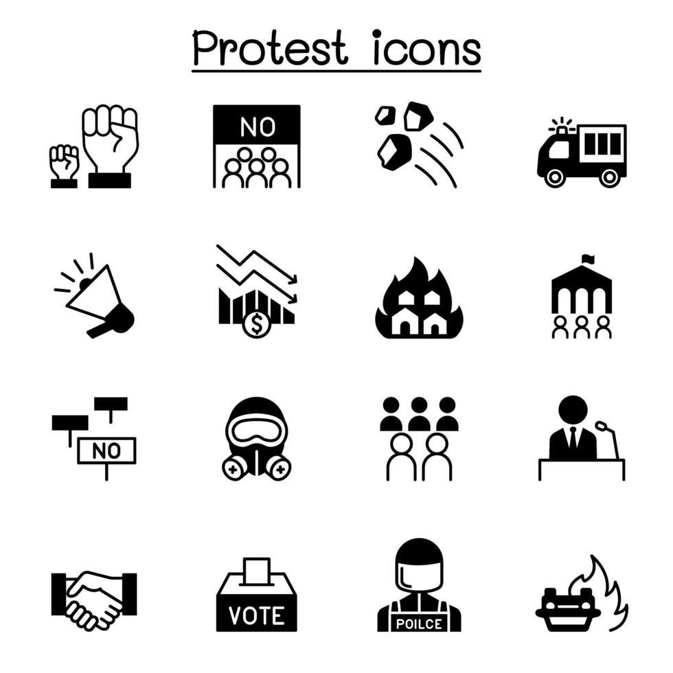 protest en chaos icon set vector illustratie grafisch ontwerp