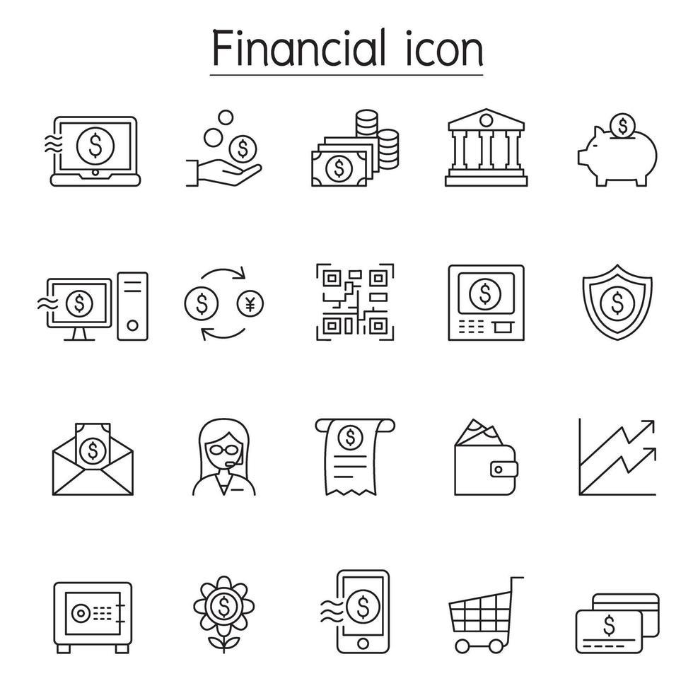 financiële en bancaire pictogrammenset in dunne lijnstijl vector