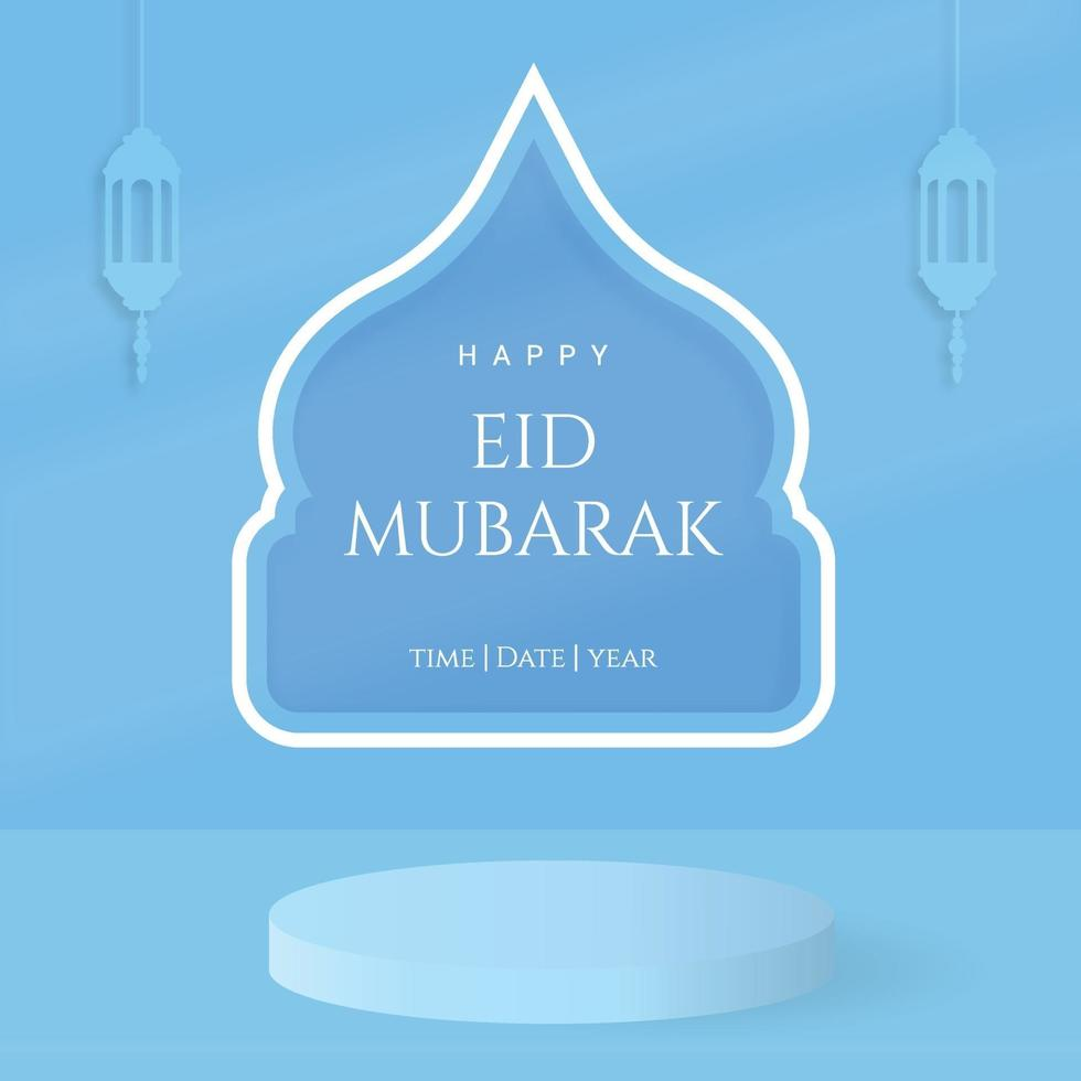 gelukkige eid mubarak met modern lichtblauw cilinderpodium met pastelkleur vector