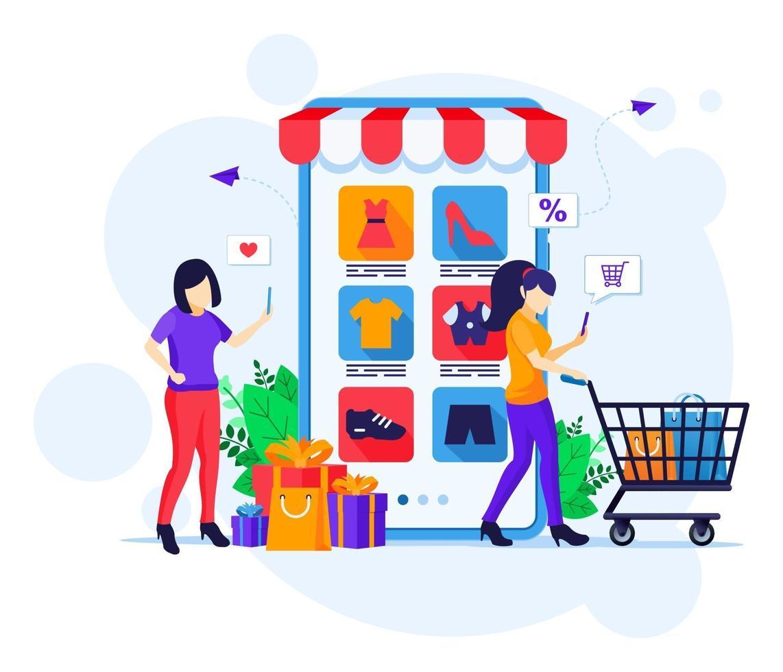 online shopping concept, jonge vrouwen met winkelwagentje kopen van producten in de mobiele applicatie winkel platte vectorillustratie vector