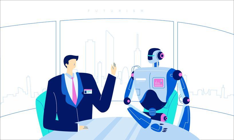 Futuristische menselijke Robot technologie innovatie Vector vlakke afbeelding