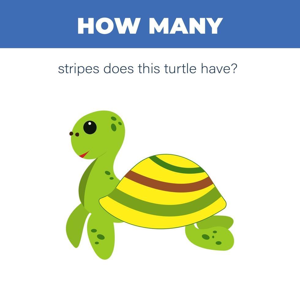 leuke cartoon schildpad tellen spel. hoeveel strepen heeft de schildpad. vectorillustratie voor kinderen onderwijs. vector