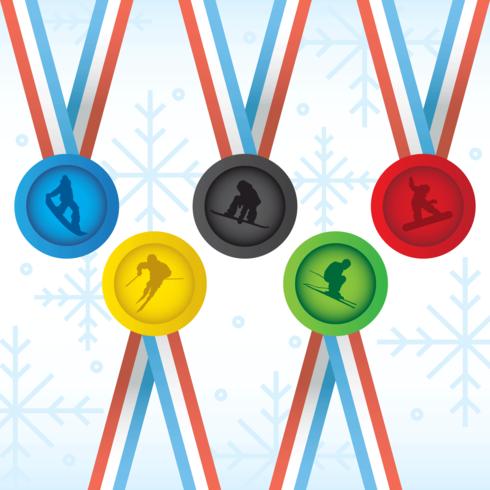 Olympische Winterspelen Sportmedailles Vector