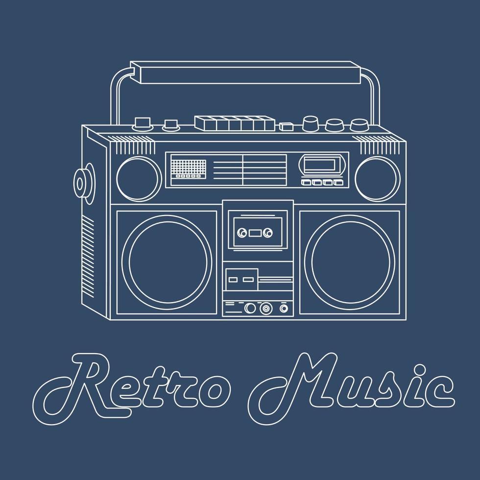 vectorillustratie van een bandrecorder met een witte omtrek op een blauwe achtergrond, retro-stijl vector