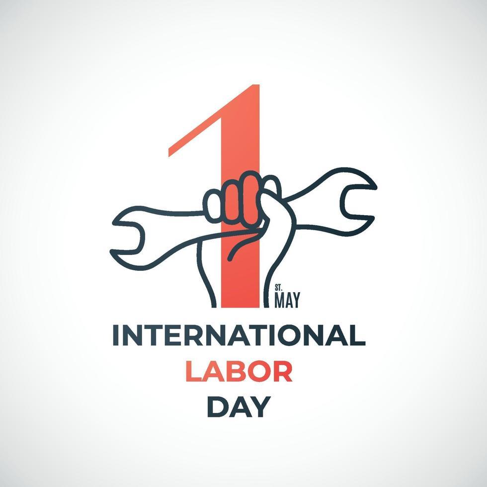 dag van de arbeid concept banner met rode nummer 1 en hand met moersleutel. 1 mei, dag van de arbeid. vector
