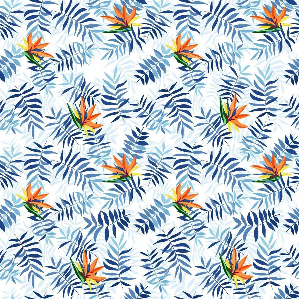 blauwe tropische bladeren en strelizia bloemen. naadloze patroon voor stof, inpakpapier en web. vector