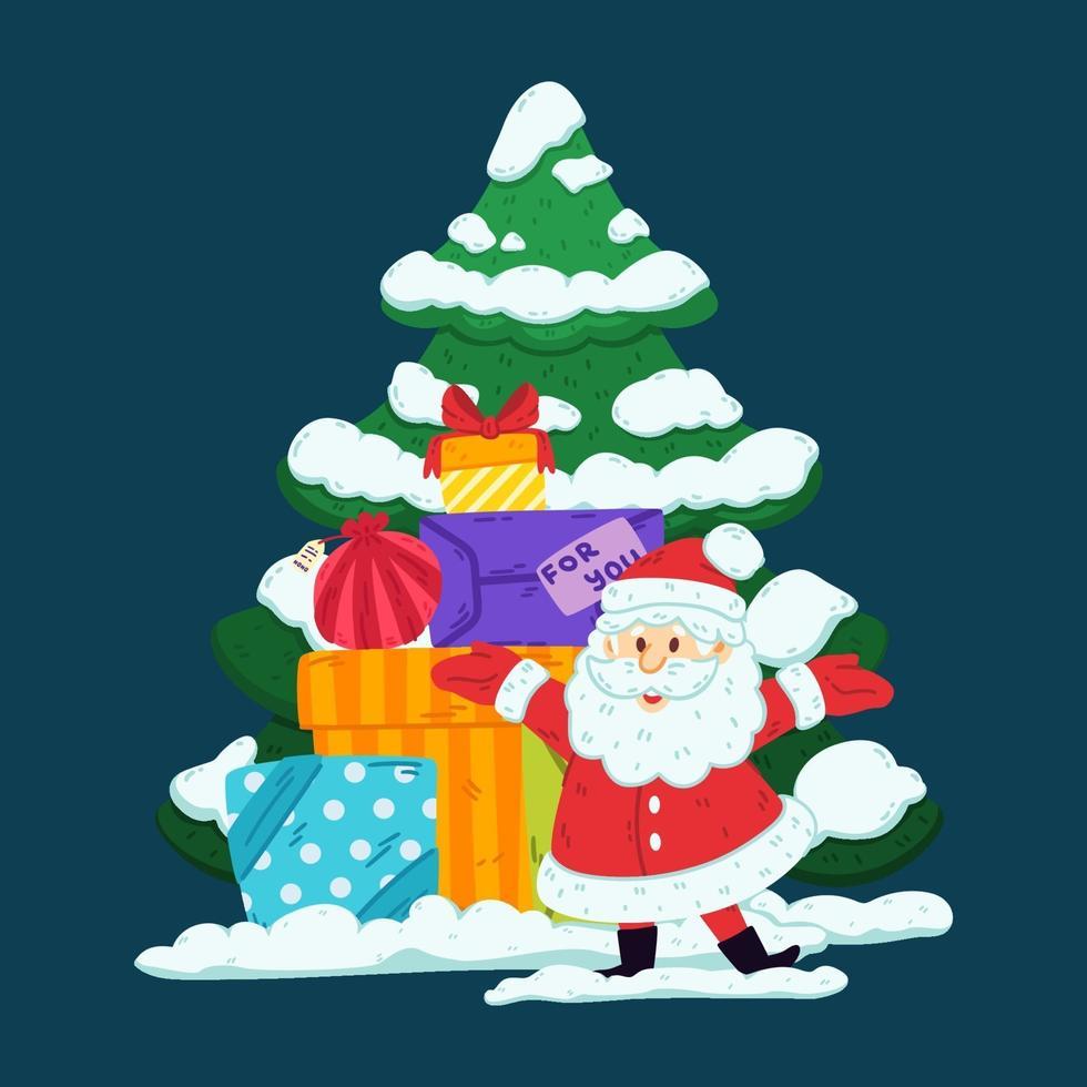 kerstman met geschenken en boom. prettige kerstdagen en gelukkig nieuwjaar wenskaart, posterontwerp. vector illustratie geïsoleerde achtergrond. ded moroz. decoratief element.