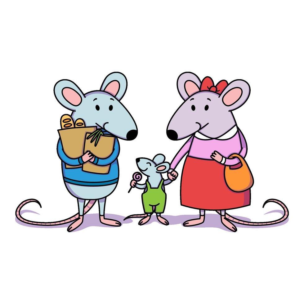 rattenfamilie. papa houdt pakjes vast met aankopen uit de winkel, mama houdt een kind bij de hand, een jongetje met snoep. cartoon dier karakter vector illustratie geïsoleerde witte achtergrond.