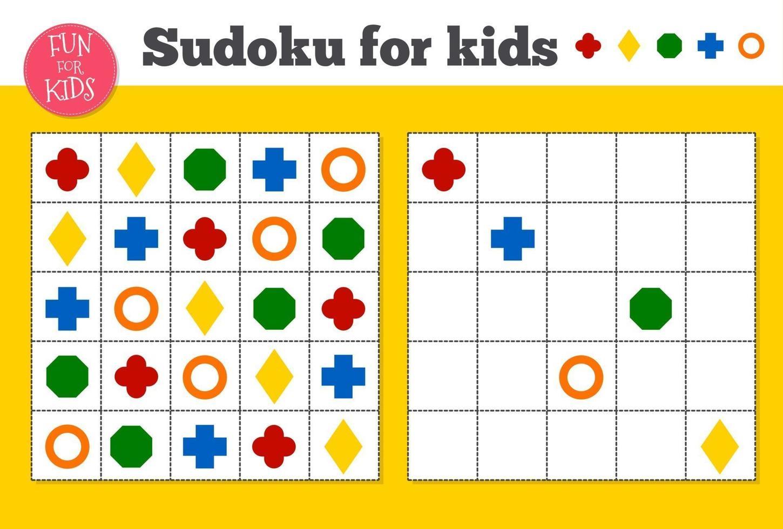 Sudoku. wiskundig mozaïek voor kinderen en volwassenen. magisch vierkant. logica puzzelspel. vector