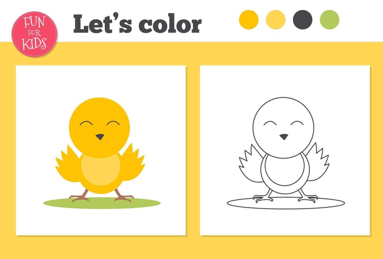 kleurboek eend voor kleuters met eenvoudig educatief spelniveau. vector