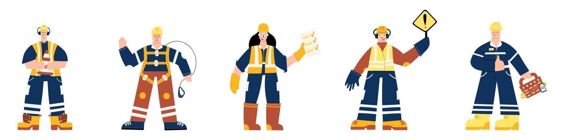 veiligheid eerste industriële werknemers mensen tekenset vector